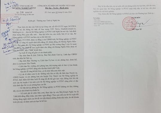 Báo cáo gửi Thường vụ Tỉnh ủy Nghệ An do Giám đốc Sở NN&PTNT Nghệ An Hồ Ngọc Sỹ ký