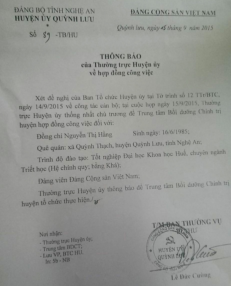 Thông báo của Thường trực Huyện ủy Quỳnh Lưu về việc hợp đồng công việc của chị Nguyễn Thị Hằng tại Trung tâm bồi dưỡng chính trị huyện.