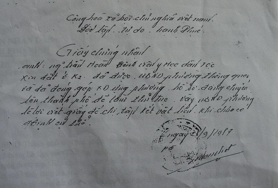 Giấy chứng nhận lập năm 1989 khẳng định hồ sơ cấp giấy CNQSDĐ của ông Hoàn đã được chuyển lên thành phố để làm thủ tục.