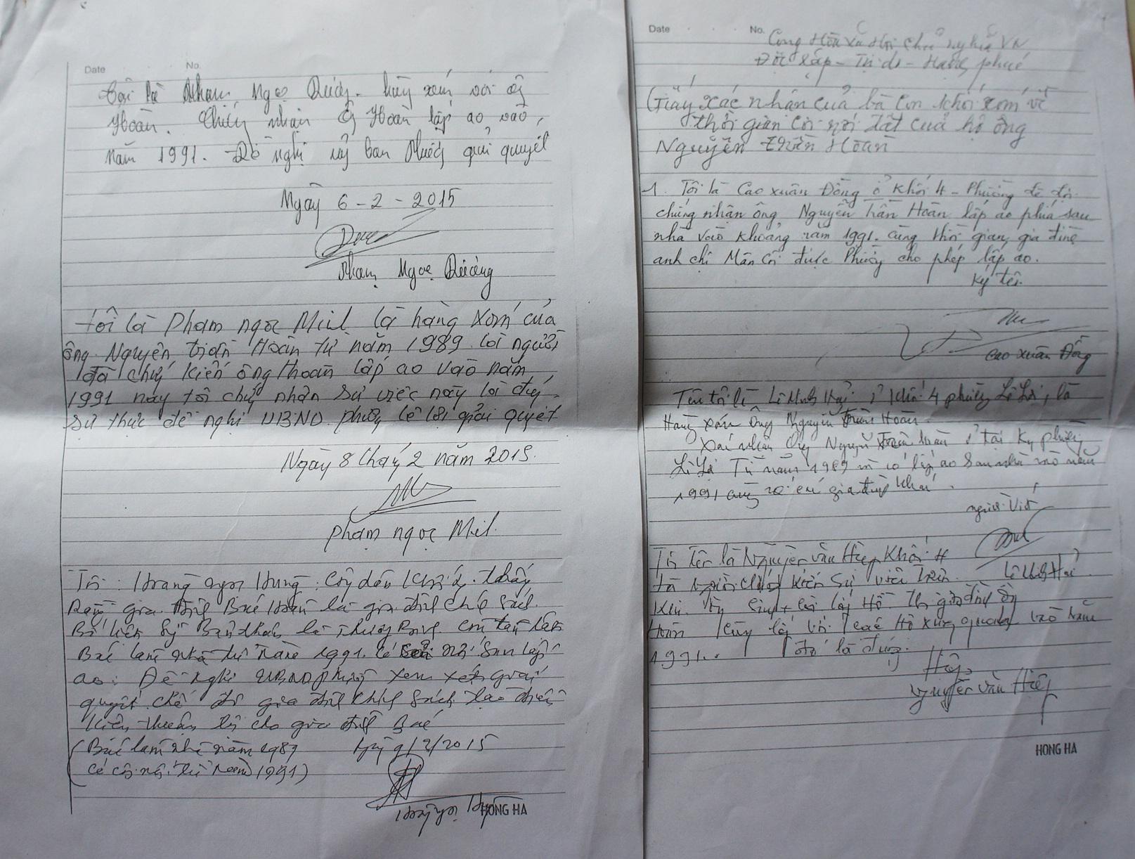 Xác nhận của người dân xung quanh về việc ông Hoàn cơi nới ao sau nhà trước thời điểm Luật Đất đai 1993 có hiệu lực.