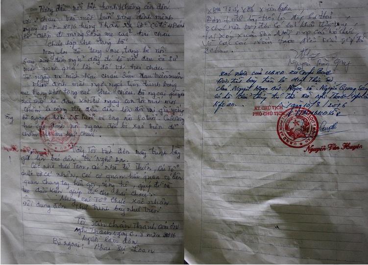 Lá đơn với những lời lẽ thống thiết về hoàn cảnh bi đát của hai cháu ngoại được bà Loan gửi đến Báo Dân trí.