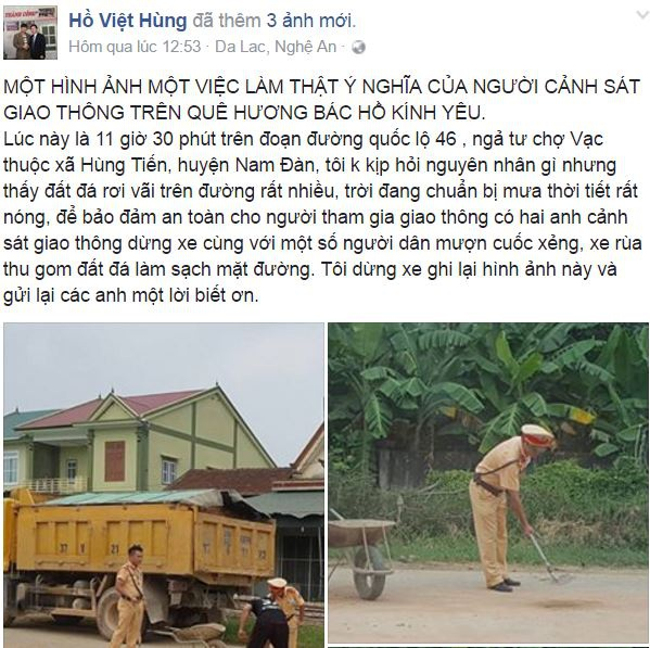Hình ảnh đẹp của 2 chiến sỹ cảnh sát giao thông được chia sẻ trên facebook.