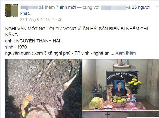 Thông tin vụ việc được một người dân đưa lên mạng xã hội Facebook.