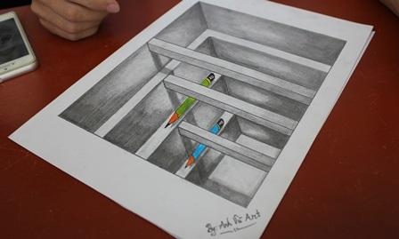 Ngỡ ngàng 9X vẽ tranh 3D sống động như thật - 6