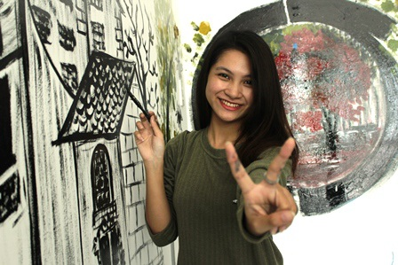 Ngắm tranh vẽ tường độc đáo của Hot girl Đại học Trà Vinh - 5