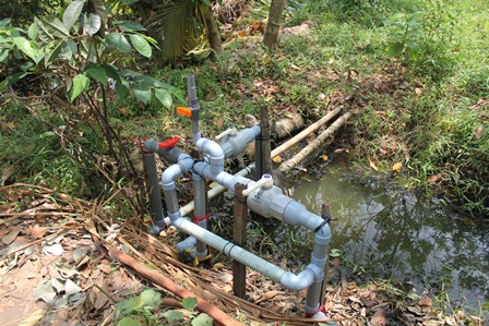 Người dân chủ động lắp đường ống để bơm nước ngọt, cứu vườn cây ăn trái