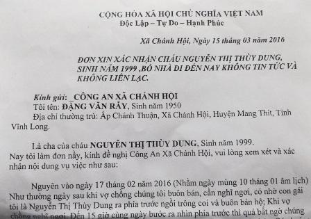 Gia đình làm đơn cầu cứu gửi đến cơ quan công an về việc mất tích của Dung