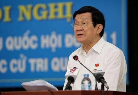 Chủ tịch nước Trương Tấn Sang cảm ơn cử tri đã tín nhiệm ông trong suốt thời gian thực hiện trách nhiệm của đại biểu nhân dân