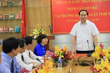 Chủ tịch nước Trần Đại Quang đánh giá cao những thành tích mà Trường đã đạt được trong thời gian qua, đồng thời chỉ ra những nhiệm vụ cấp bách phải đạt được trong thời gian tới