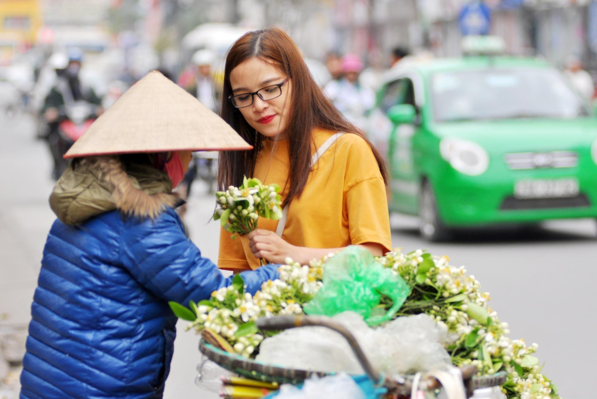 Dù có giá bán khá cao, song những hàng bán hoa bưởi vẫn thu hút khá đông khách mua hàng