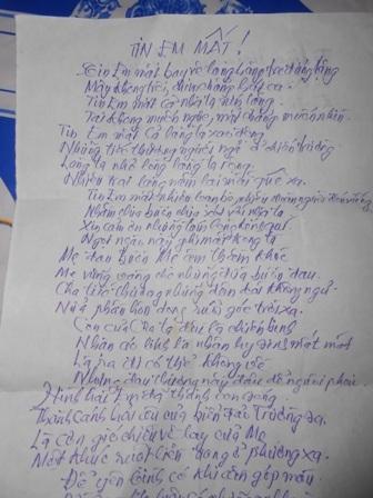 Bài thơ anh Nguyễn Bá Hùng viết cho em khi nghe tin em hy sinh