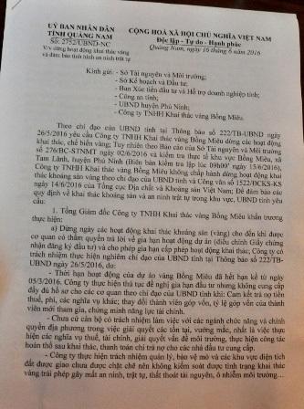 Công văn của UBND tỉnh Quảng Nam yêu cầu Công ty TNHH khai thác vàng Bồng Miêu dừng khai thác