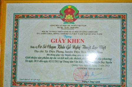 Các giấy khen cơ sở Lạc Việt của anh Vỹ