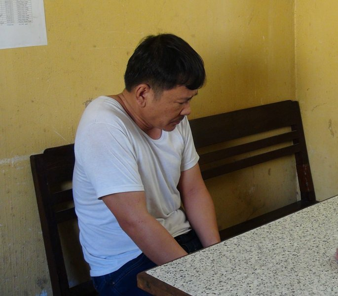 Đối tượng Nguyễn Văn Chín tại cơ quan công an