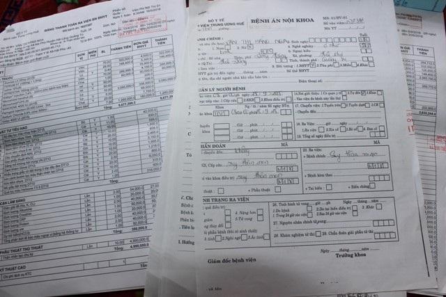Hồ sơ bệnh án về bệnh của chị Nga cũng như các khoản chi phí điều trị