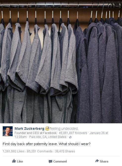 Tủ quần áo cá nhân đơn giản tới khó tin được chính Mark Zuckerberg chia sẻ trên Facebook