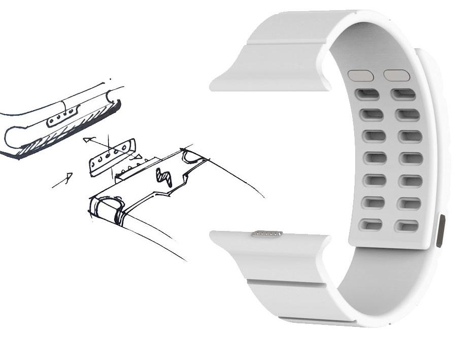 Cách thức mà Reserve Strap sử dụng để kết nối bộ sạc dự phòng với Apple Watch qua cổng kết nối ẩn