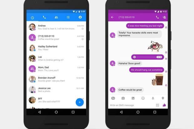 Các tin nhắn SMS thông qua Facebook Messenger sẽ được đánh dấu bằng màu tím