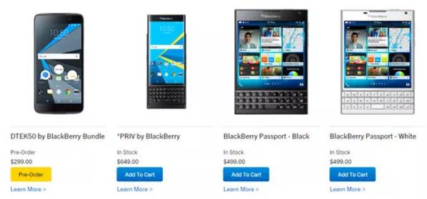 BlackBerry DTEK50 xuất hiện trên nhiều chuỗi cửa hàng bán lẻ bên cạnh dòng Priv và Passport