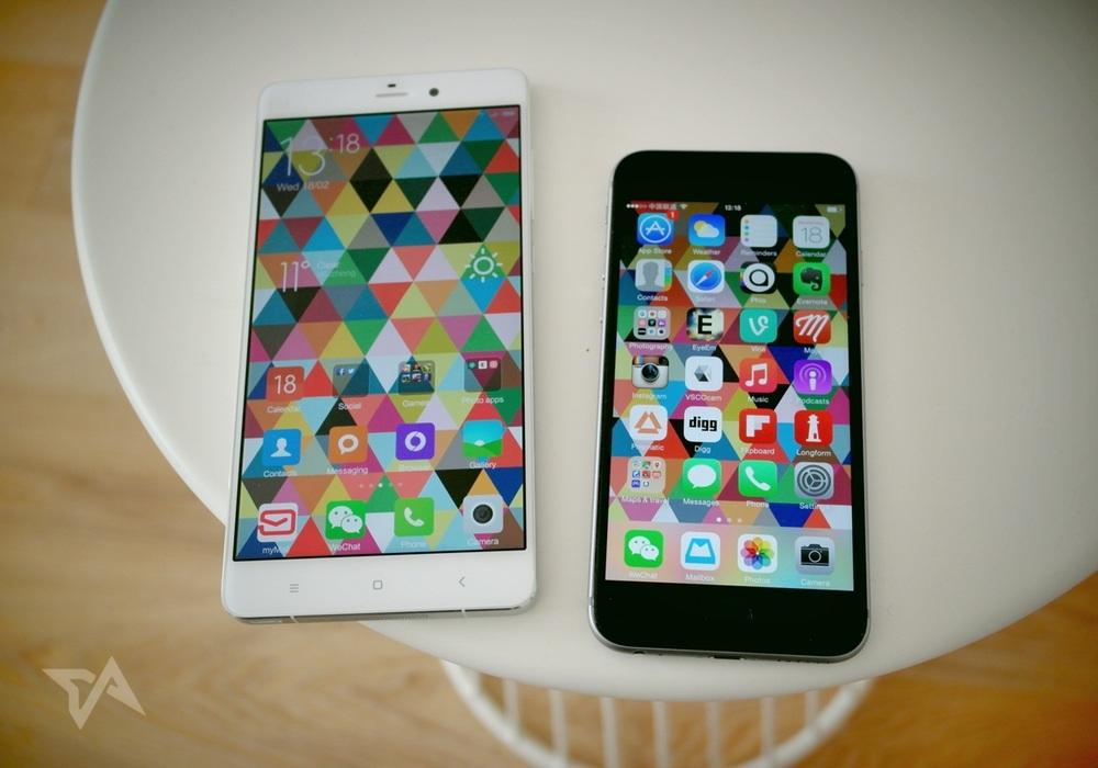 Xiaomi Mi Note (trái) đặt cạnh iPhone 6