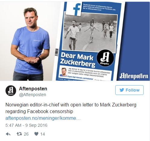 Tờ báo Aftenposten đang vô cùng phẫn nộ đối với khâu kiểm duyệt hình ảnh của Facebook