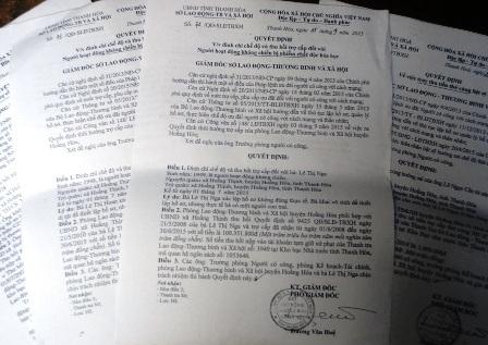 Sở LĐ-TB&XH tỉnh Thanh Hóa đã đình chỉ và thu hồi tiền cấp sai chế độ