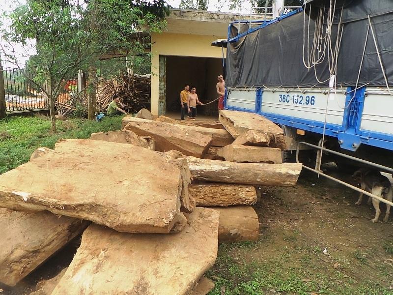 Chiếc xe tải chở đầy gỗ