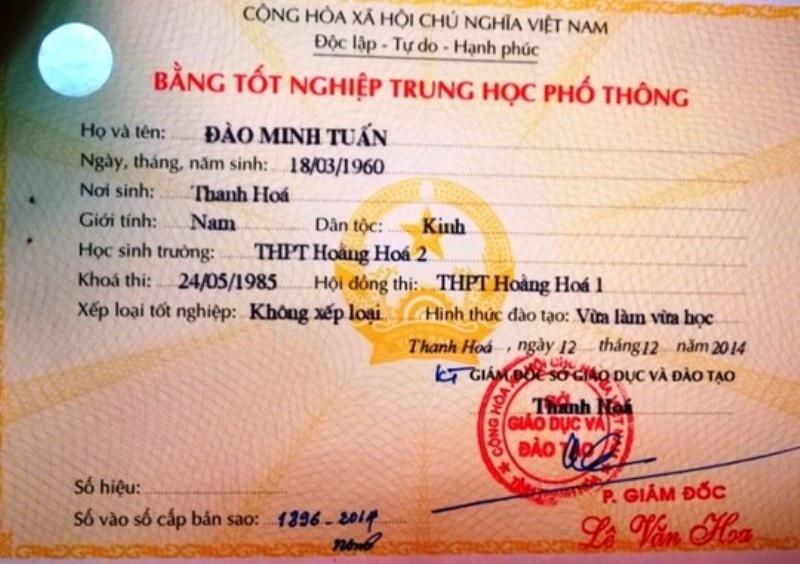 Ông Đào Minh Tuấn có 2 tên, 2 bằng tốt nghiệp THPT khác nhau