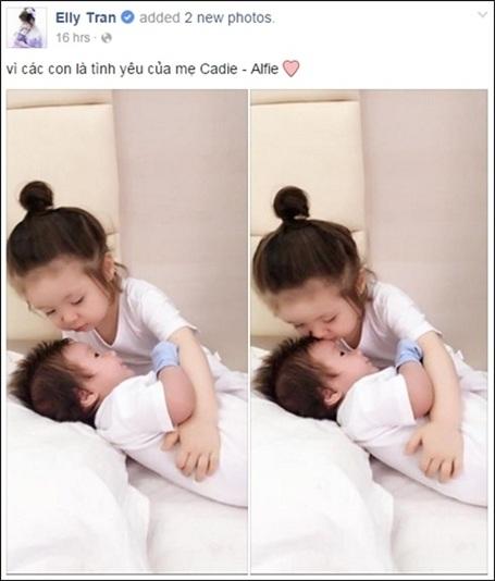 Hình ảnh về hai con được Elly Trần chia sẻ.