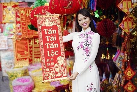Hoa hậu Điện ảnh 9X thướt tha áo dài đón xuân - 7
