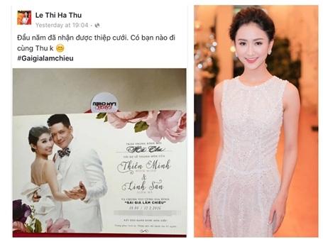Á hậu Hà Thu còn hào hứng rủ thêm mọi người đi dự đám cưới cùng mình.
