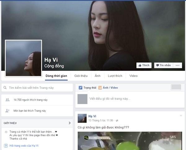 Một Fanpage khác giả mạo Hạ Vi thu hút tới hơn 14 nghìn lượt like (thích).