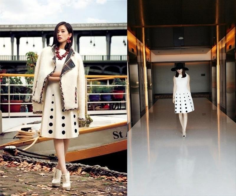Hình ảnh của Fashionnista Hoàng Dung trở nên nhẹ nhàng cuốn hút khi có màn đối đầu cùng cô nữ diễn viên Lưu Thi Thi người Trung Quốc trong thiết kế của thương hiệu Moschino.