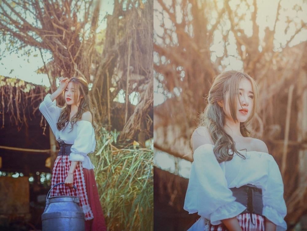 Bộ ảnh thực hiện tại một vùng ngoại ô thành phố Hồ Chí Minh. Ống kính bắt trọn những khoảnh khắc của nữ diễn viên trong không gian mộc mạc và giản dị của một trang trại chăn nuôi.