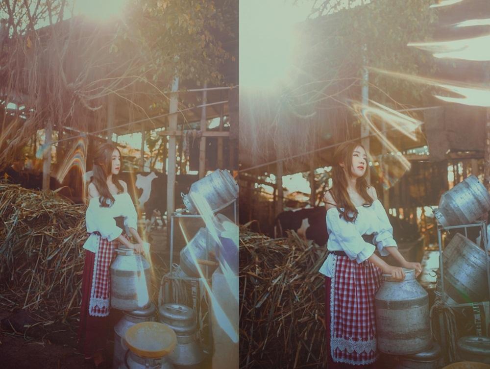 Trông Elly Trần không khác gì một nàng công chúa Lọ Lem, đặc biệt ở phần trang phục. Cô diện váy áo mang phong cách đồng quê với tay bèo trễ vai, chân váy dài và nịt bụng da.