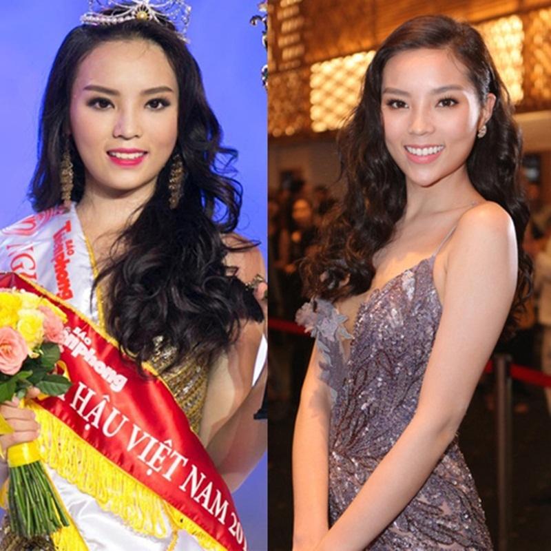 Hình ảnh Kỳ Duyên khi mới đăng quang Hoa hậu Việt Nam và thay đổi khi chiếc cằm có phần dài hơn.