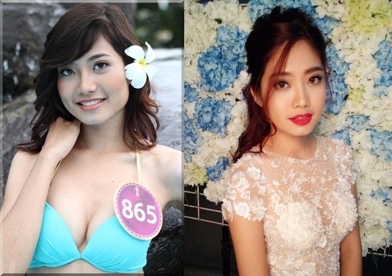 Gương mặt bầu bĩnh của Ninh Hoàng Ngân thời điểm dự thi Hoa hậu thế giới người Việt 2010 (trái) và gương mặt phần thon gọn hơn ở thời điểm hiện tại (phải) làm dấy lên tin đồn phẫu thuật thẩm mỹ.