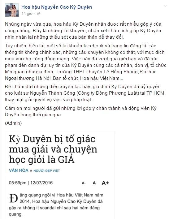 Ảnh chụp màn hình trang fanpage của Hoa hậu Kỳ Duyên