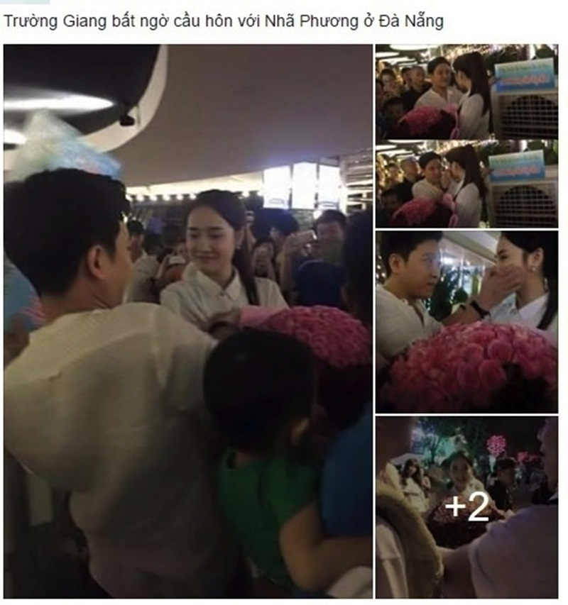 Chia sẻ của một tài khoản Facebook khiến tin đồn Trường Giang cầu hôn Nhã Phương lan ra.
