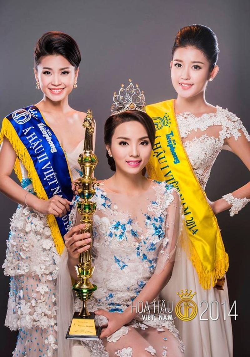 Đoạt ngôi vị Á hậu 2 Hoa hậu Việt Nam 2014 và giành nhiều danh hiệu lớn nhỏ nhưng khác với Hoa hậu Kỳ Duyên và Á hậu Huyền My, Diễm Trang (ngoài cùng bên trái) có phần kín tiếng hơn trong showbiz.