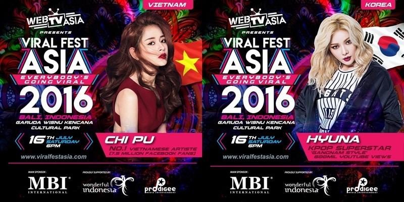 Giữa tháng 7 vừa qua, Chi Pu và Miu Lê là hai đại diện nghệ sĩ Việt Nam được mời sang Bali, Indonesia tham dự sự kiện Viral Fest Asia 2016 do WebTV Asia lần đầu tiên tổ chức. Bản thân cô cũng khá bất ngờ mặc dù là diễn viên nhưng lại được mời với tư cách ca sĩ. Chi Pu đã có cơ hội diễn chung sân khấu với hàng trăm nghệ sĩ châu Á, trong đó có biểu tượng gợi cảm Hàn Quốc - HyunA, MC Mong, hai ngôi sao hàng đầu Malaysia Namewee và Joyce Chu, ca sĩ Thái Lan Jannine Weigel, nhóm nhạc Đài Loan Lollipop F...