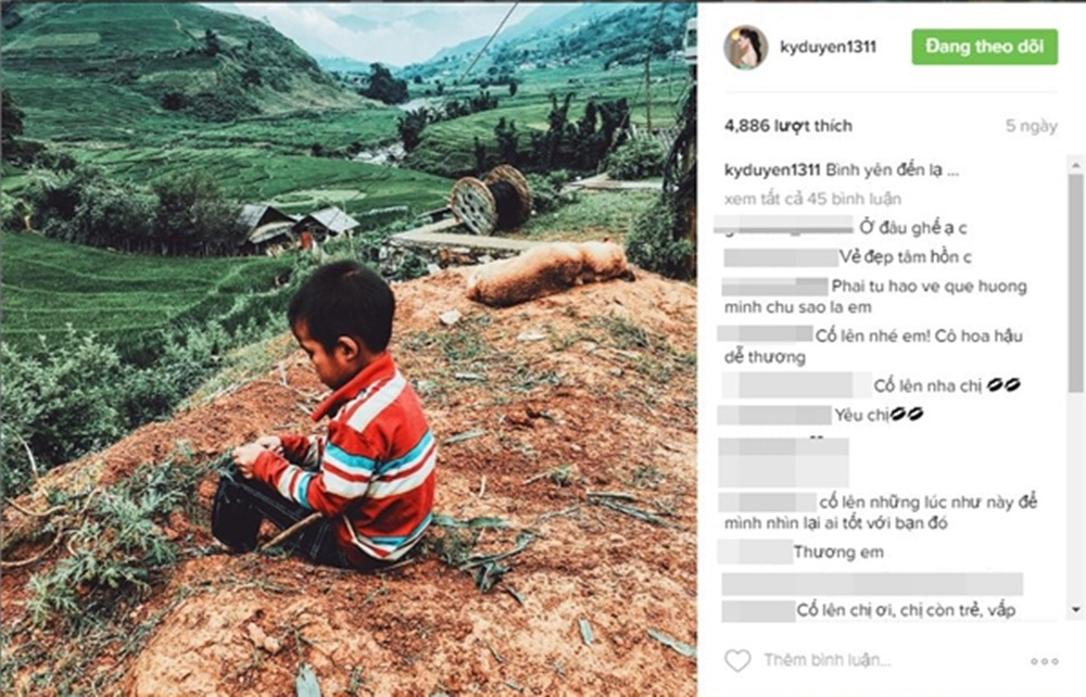 Trên trang cá nhân mới đây, Kỳ Duyên chia sẻ hình ảnh về chuyến đi lên vùng cao, khoảnh khắc đời thường của trẻ em miền núi.