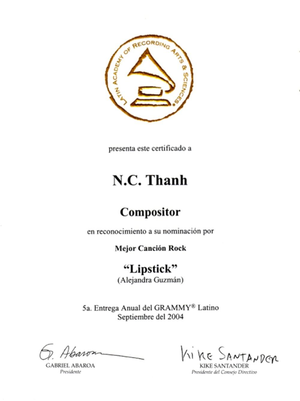 Chi Thanh là người Việt Nam đầu tiên được đề cử giải Grammy ở hạng mục Latin rock.