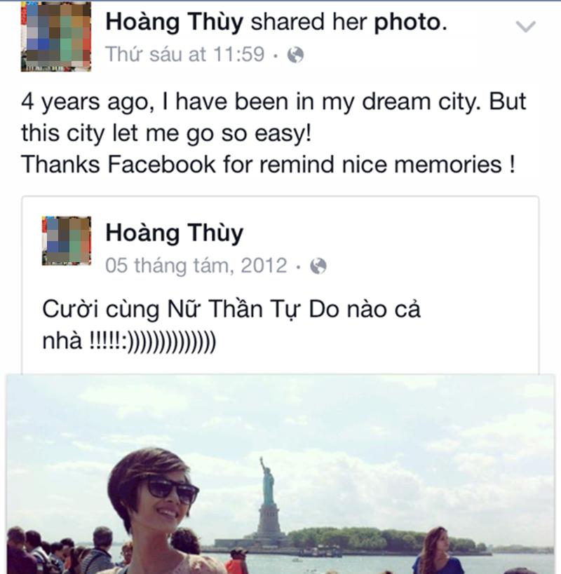 Hoàng Thùy sử dụng tiếng Anh thường xuyên trên Facebook, không ngại kể cả khi ngữ pháp của mình chưa thật sự hoàn thiện bởi cô hiểu đó là cách học tiếng Anh tốt nhất.