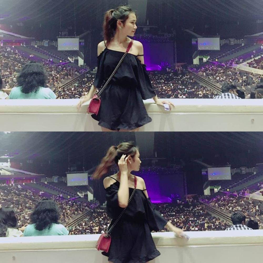 Ngọc Mai tại show trình diễn của Selena Gomez tại Singapore.