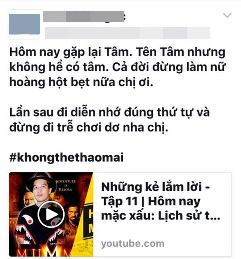 Stylist Lê Minh Ngọc có status nói về Mỹ Tâm. Tuy nhiên, bản thân stylist này lại không theo dõi đến hết chương trình.