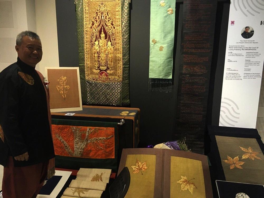 NTK Lào với những nét thêu truyền thống bằng chỉ vàng thật.