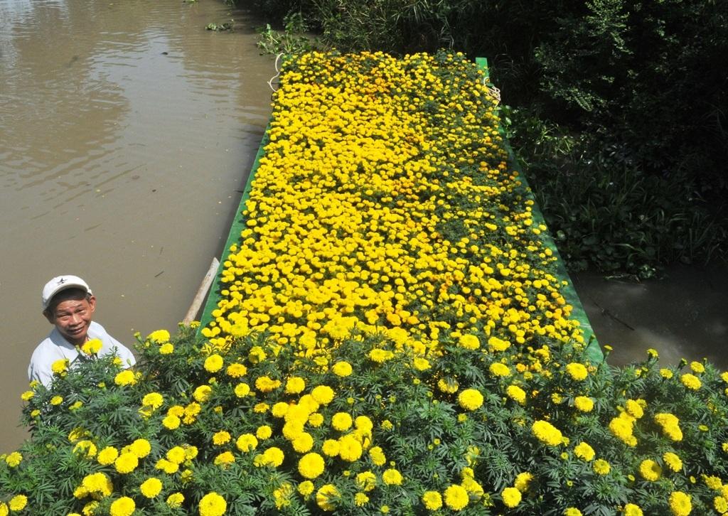 Chiếc chẹt của anh Sơn ngập tràn hoa vạn thọ...