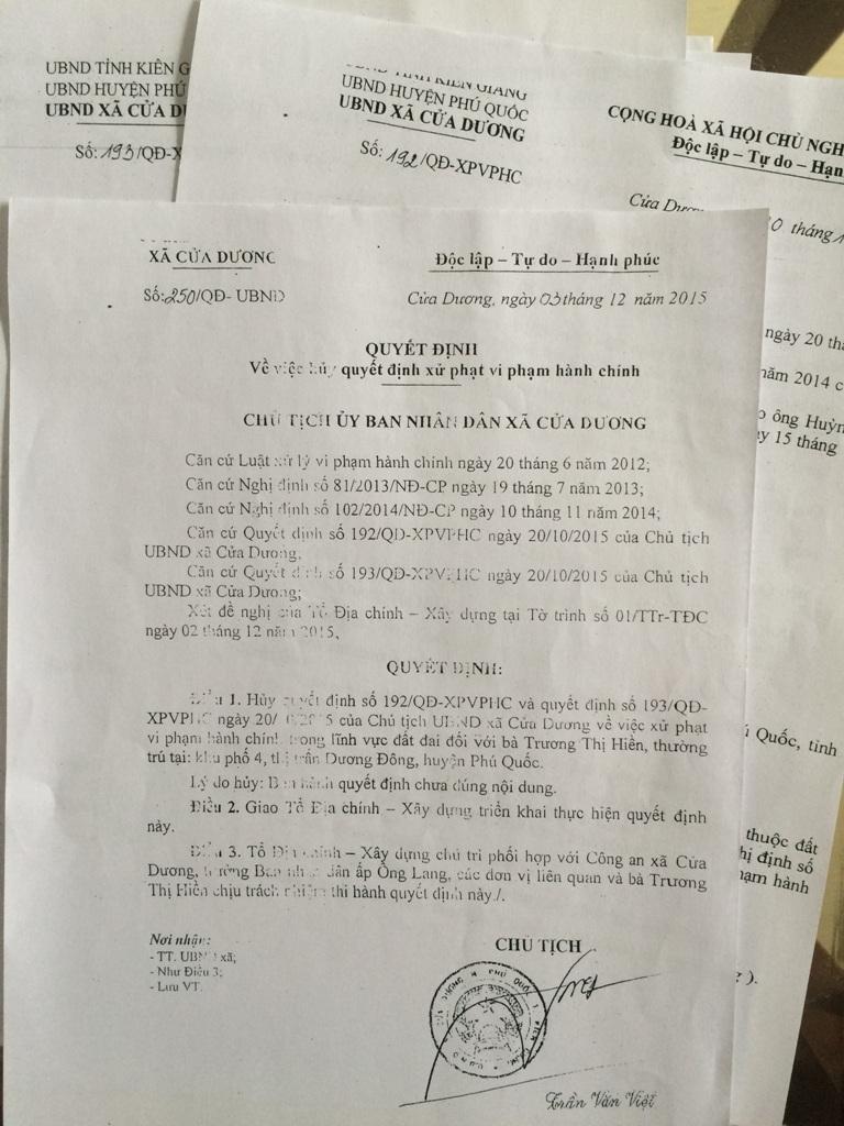 Cùng hành vi bao chiếm đất, Chủ tịch UBND xã Cửa Dương ban hành 02 quyết định xử phạt hành chính nhưng sau đó vị Chủ tịch này phải ra thêm một Quyết định 250 để hủy bỏ hai quyết định chính ông ban hành