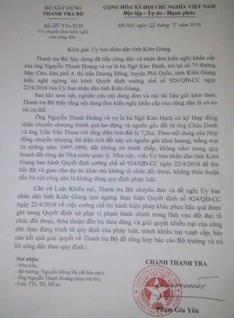 Tước đất của dân giao cho doanh nghiệp: Chính phủ yêu cầu Kiên Giang báo cáo trước 30/9! - Ảnh 2.